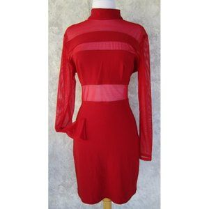 TOWER Dress Red LARGE Back Zip Cutouts
